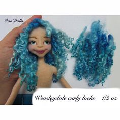 Wensleydale curly locks, variegated blue, hand painted, hand dyed, Doll hair, curly locks, beautiful defined curly locks. by OooDolls on Etsy