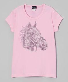 Pink Rhinestone Horse Portrait Tee - Toddler & Girls