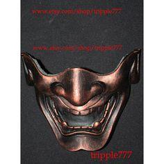 Half cover Hannya Kabuki mask, Airsoft mask, Halloween costume & Cosplay mask, Halloween mask, Steampunk mask, Wall mask, Samurai MA129 et handmade