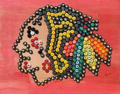 Beer Bottlecap Art Chicago Blackhawks logo