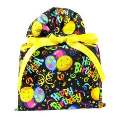 Black Birthday Reusable Fabric Gift Bag 10' X 15' * For more information, visit image link.