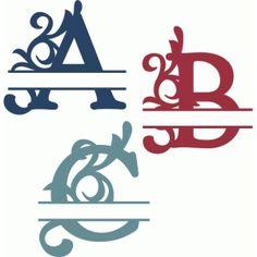 Silhouette Design Store - View Design split flourish monograms a-c Monogram Stickers, Monogram Letters, Silhouette Cameo Projects, Silhouette Design, Blue Nose Friends, Cricut Fonts, Stencil Patterns, Handwriting Fonts, Vinyl Cutting