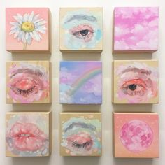 canvas art Small studies from last year # eyestudy Cute Canvas Paintings, Small Canvas Art, Mini Canvas Art, Mini Paintings, Pastel Paintings, Canvas Size, Aesthetic Painting, Aesthetic Art, Acrylic Art