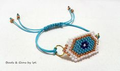 BEADS and GEMS by LPL Art... BB-100 Handmade bracelets - La Petite / Evil eye collection - Brick stitch - 9/o seed beads - 1.00 macrame cord , 3mm square beads - in white - gold & turquoise colours.