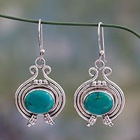 Turquoise and cultured pearl dangle earrings, 'Dreamy Sky'