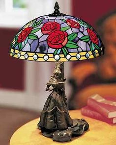 Disney Beauty The Beast Stained Glass Tiffany Style Lamp Ed Retired | eBay