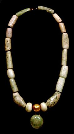 Moche Gold and Maya Stone Bead Necklace