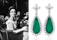 Liz Taylor  A pair of emerald-and-diamond ear pendants, by Bulgari, 1960, gift from Richard Burton  She wore them at the Paris premiere of Lawrence of Arabia in 1962; she wore them to greet Queen Elizabeth in Washington, in 1976; and they were part of her costume in the V.I.P.s. They were, if such a thing can be said of emerald-and-diamond earrings, ubiquitous.