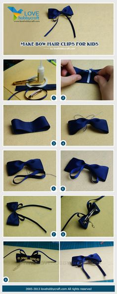 Make bow hair clips for kids