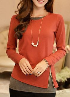 ad6e328aca59a Zip Design Faux Two Piece T Shirt Watermelon Red Long Sleeve Blouse