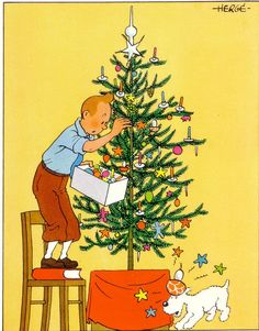 Tintin and Snowy decorating a Christmas tree. Tintin standing on a book makes it even more charming. Illustration Noel, Christmas Illustration, Illustrations, Noel Christmas, Vintage Christmas, Christmas Gifts, Asterix Y Obelix, Christmas Preparation, Christmas Drawing
