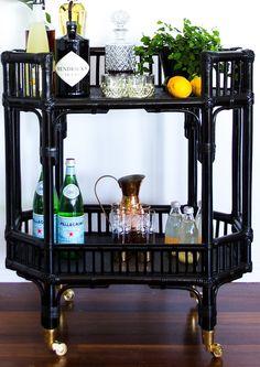 Byron Bay Bar Cart/Side Table (preorder for November Home Bar Decor, Bar Cart Decor, Bar Design, House Design, Bar Chairs, Bar Stools, Bar Trolley, Drinks Trolley, Gold Bar Cart