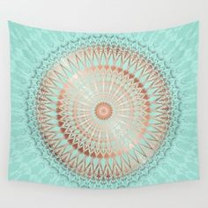 #rose gold #mint #copper #mandala wall tapestry