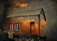 Surreal photo print, whimsical house in the clouds, original fine art photography, burning clouds, fiery sunset, heavens. $30.00, via Etsy.