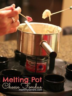 Melting Pot Cheese Fondue Recipe for saucepan. For the crockpot, slow cooker on low for hours, stirring every 30 minutes. If the fondue is too soupy, then dissolve flour in cold water & stir in to the fondue Fondue Recipes, Cheese Recipes, Copycat Recipes, Appetizer Recipes, Appetizers, Cooking Recipes, Fondue Ideas, Kabob Recipes, Appetizer Ideas