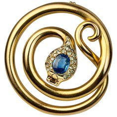 Antique Russian Sapphire Diamond Gold Snake Brooch | See more rare vintage Brooches at http://www.1stdibs.com/jewelry/brooches/brooches