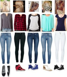 """Outfits of the Week, please comment wich your fave is"" by browniebrunie ❤ liked on Polyvore. My favorite is the second and the last ones!"