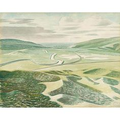 """Twentieth Century British Art by Eric Ravilious: """"Floods at Lewes"""" Landscape Art, Landscape Paintings, Landscapes, London Art, Leaf Art, Wood Engraving, Colorful Drawings, Watercolor And Ink, Giclee Print"""