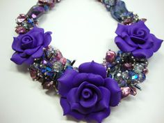 Purple Blue Crystals with Freshwater Pearls by MommaGoddess, $42.00