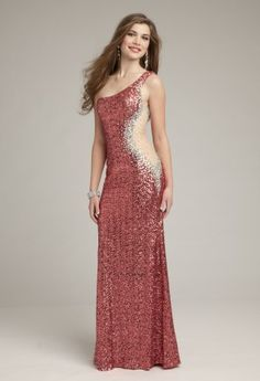 Prom Dresses 2013 - Fully Sequin One Shoulder Illusion Side Dress from Camille La Vie and Group USA