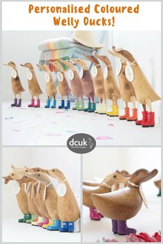 Our coloured welly Ducks make quacking gifts or home decor accessories! 10 jewel bright colours and 4 sizes, each can be personalised with the name of your choice! Explore our website for further info at The Duck Company, DCUK!