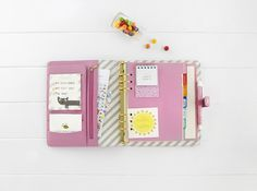 Cute and fun Textured Leather Personal Planner in pink #organisation #stationery #planner #love #kikkiK #DIY #customise