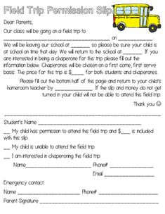 Field Trip Permission Slip Scholastic Printables