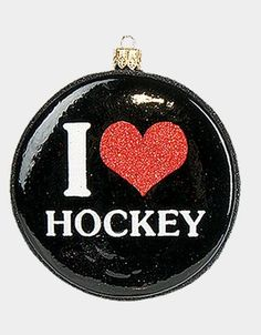 Pinnacle Peak Glass I Love Hockey Puck Polish Sports Ornament