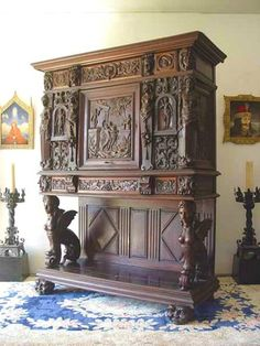Rare French Sphinx Collector's Cabinet Heavily Carved Gothic Victorian. Massive!