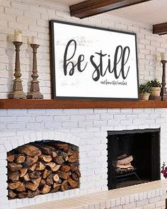 Be Still and Know – Fixer Upper Style Sign Wall Art Canvas – Farmhouse Fireplace Mantels Modern Farmhouse Decor, Modern Rustic, Rustic Decor, Farmhouse Style, Rustic Farmhouse, Farmhouse Fireplace, Farmhouse Design, Double Fireplace, Rustic Cafe