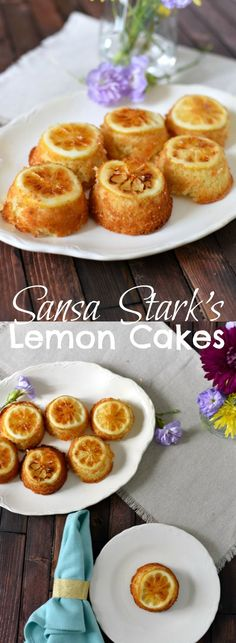These easy lemon cakes are a delightful treat that are perfect for your Game of Thrones party or while watching the show. Dainty lemon cakes topped with a candied lemon and drizzled with lemon simple syrup. Sansa Stark Inspired Recipe  via @GingeredWhisk