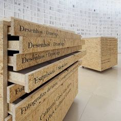 Wood drawers with type would look great in a studio/store. (via Eduardo Souto de Moura Concursos)