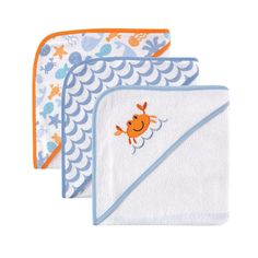 """Luvable Friends 3-Pack Hooded Towels, Blue Crab - Baby Vision - Babies """"R"""" Us"""