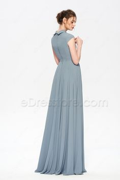 The dusty blue bridesmaid dress featuring turndown collor and decorations buttons, simple and elegant cut, A Line skirt with floor length. Dusty Blue Bridesmaid Dresses, Blue Dresses, Dresses With Sleeves, Cap Sleeves, Trendy Dresses, Elegant Dresses, Beautiful Dresses, Frock Fashion, Fashion Dresses