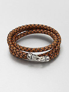 Scott Kay Braided Leather and Sterling Silver Wrap Bracelet  | www.goldcasters.com