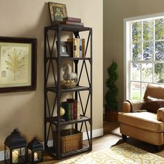 Modway Stave Stand Bookcase in Brown