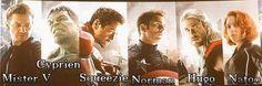 Les Avengers français : @xSqueeZie @MonsieurDream @NormanDesVideos @Nato_o @MisterVonline @Hugotoutseul (les vrais)