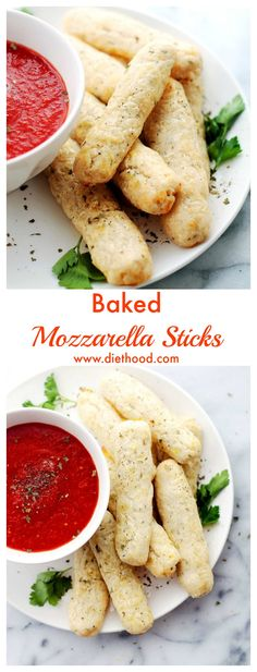 Baked Mozzarella Sticks | www.diethood.com | A much healthier alternative, these mozzarella sticks are baked instead of fried! | #recipe #appetizers