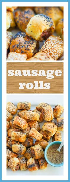 TASTY BITES OF SWEET SAUSAGE WRAPPED IN PUFF PASTRY. THESE SAUSAGE ROLLS ARE PERFECT SUPERBOWL SNACKS!