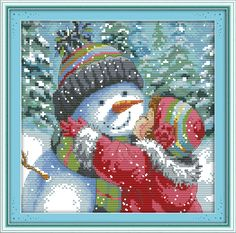 Kiss the Snowman Counted Cross Stitch 11CT 14CT DMC Cross Stitch Sets DIY Cross Stitch Kits for Embroidery Home Decor Needlework