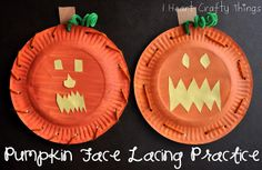 Paper Plate Pumpkin Face Lacing Practice via I Heart Crafty Things