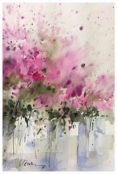 Watercolour apple blossoms in fuchsias, pinks and spring greens by Asara Design. Abstract Flowers, Abstract Watercolor, Watercolour Painting, Watercolor Flowers, Watercolours, Ink Art, Flower Art, Art Projects, Artwork