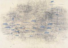 """Julie Mehretu - """"Palimpsest (old gods),"""" 2006; Ink and acrylic on canvas, 60 x 84 inches; """"With my work, it's the architecture and the space and the built environment that become a kind of palimpsest, another type of atmosphere. The buildings are so layered, the information can be so layered and disintegrated, that it almost becomes a dust-like atmosphere in the place and palimpsest."""" -Julie Mehretu"""