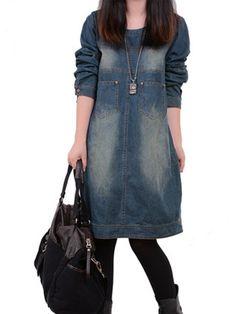 Casual Women O-Neck Adjustable Sleeve Pockets Denim Dress