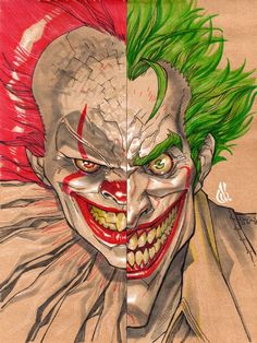 joker and pennywise Joker Drawings, Cartoon Drawings, Deadpool Pikachu, Joker Wallpapers, Joker Art, Cartoon Crossovers, Creepy Clown, Evil Clowns, Cool Sketches