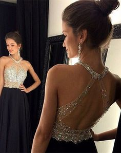 $149.99 Chic Crystals Beadings Chiffon Prom Dress 2016 A-line Halter Sleeveless