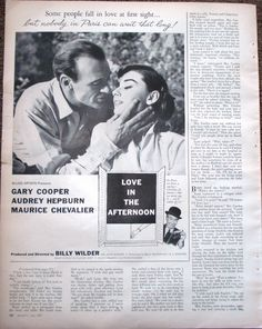 Gary Cooper Audrey Hepburn Love In The Afternoon 1957 Magazine Ad Very Good - 1950-59 #jimb0235