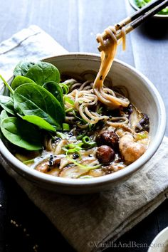 A fast and hearty weeknight dinner. Speedy Miso Spinach Mushroom Ramen is packed with ginger, garlic, shiitake mushrooms and oodles of soba noodles! Vegan + Optionally GF Busy weekdays call for fast Ramen Recipes, Asian Recipes, Cooking Recipes, What's Cooking, Vegan Recipes Beginner, Vegetarian Recipes, Healthy Recipes, Weeknight Recipes, Eat Healthy