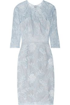 Lela Rose Chantilly lace dress | NET-A-PORTER That irresistible Ice Blue