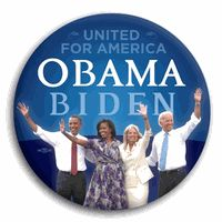"Obama Buttons - United for America Obama and Biden Photo Button 3"" $2.50"